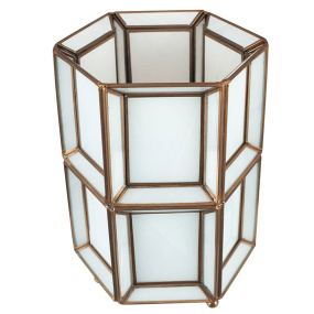 White Glass and Brass Table Lamp | Housing Units