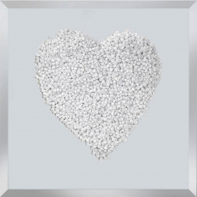 Clear Heart Cluster on White Glass - Small