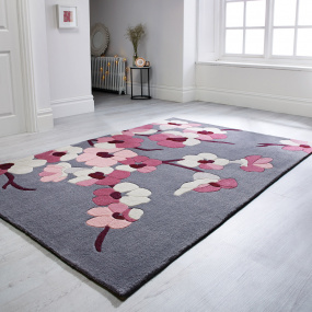 Infinite Blossom Charcoal & Pink 80cm x 150cm Rug