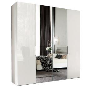 Torino White High Gloss 4 Door 239cm Wardrobe