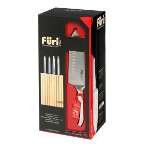 Furi Pro Wood 5 Piece Knife Block Set with Sharpener