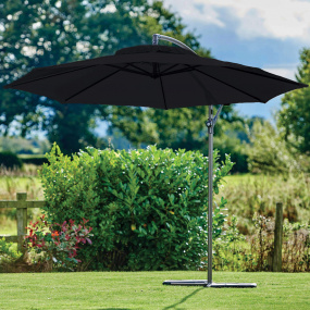 Supremo Riviera 300cm Crank & Tilt Free Arm Carbon Black Garden Parasol | Housing Units