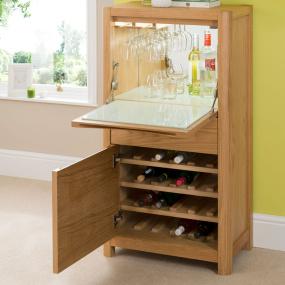 Oslo Light Oak Drinks Cabinet