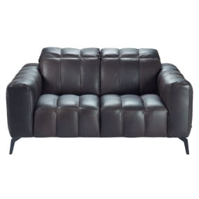 Natuzzi Editions Portento Brown Leather Fixed Loveseat With Manually Adjustable Headrests - Front