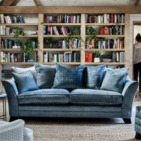 Harmony Pillow-back 4 Seater Split Sofa in Finesse Lagoon Fabric