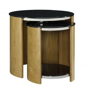 Jual JF305 Curve Oak and Glass Nest of Tables
