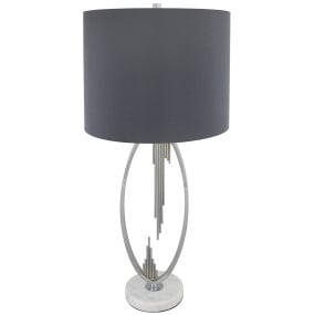 Chauvet Silver Abstract Table Lamp & Grey Shade