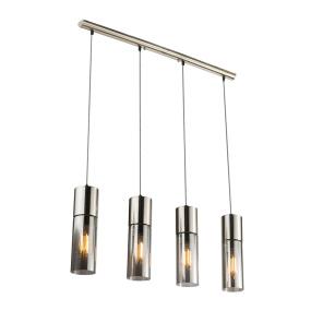 Globo Annika Chrome & Smoked Glass 4 Light Bar Pendant Light