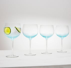 Set of 4 Blue Gin Bubble Glasses
