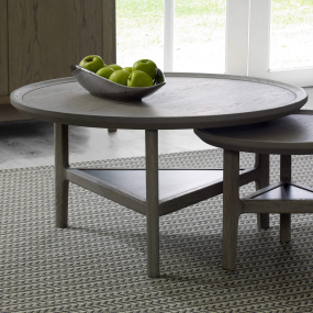 Alicante Grey Oak Round Coffee Table - Lifestyle | Housing Units