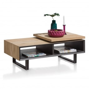 Sonata Oak Veneer & Metal Rectangular Coffee Table - Angled
