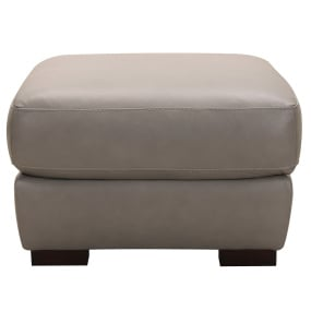 Andrea Grey Leather Footstool - Head On Shot