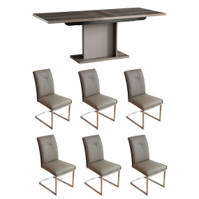 Monaco Oak Effect Extending Dining Table & 6 Jensen Cappuccino Dining Chairs