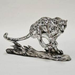 Large Silver Cheetah Sculpture
