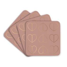 Beau & Elliot Set of 4 Blush Pink Heart Coasters