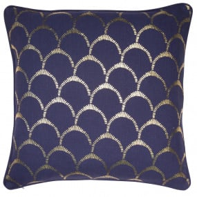 Malini Scallop Navy & Gold Cushion