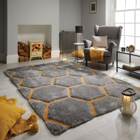Verge Honeycomb Grey and Ochre Rug Collection