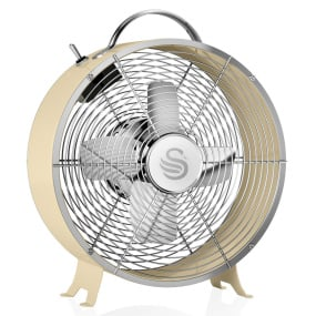 Swan Retro Cream 8 Inch Clock Fan