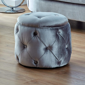 Arabella Grey Velvet Upholstered Round Footstool - Lifestyle | Housing Units