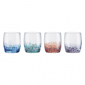 Set of 4 Speckled Glass Tumblers