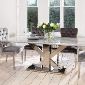 Tamzen 200cm Grey Marble Dining Table & 4 Remington Grey Velvet Chairs With Knocker | Housing Units