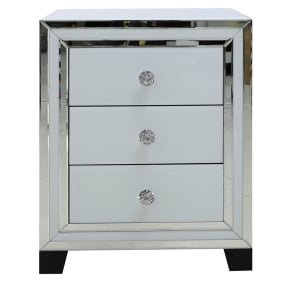 Dash White Mirrored 3 Drawer Bedside Chest