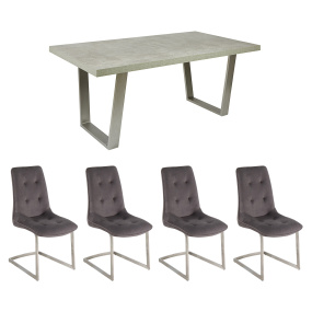 Caspian 160cm Concrete Effect Dining Table & 4 Avanti Grey Fabric Upholstered Dining Chairs