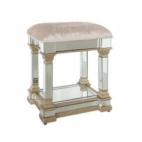 Versailles Champagne Mirror Finish Dressing Table Stool