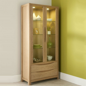 Oslo Light Oak 2 Door Display Cabinet
