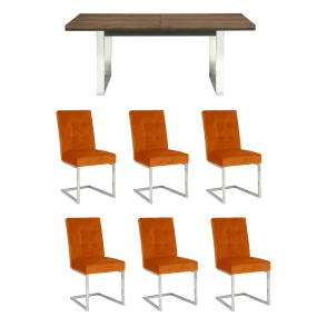 Teramo 6-10 Seat Extending Dining Table & 6 Harvest Pumpkin Chairs