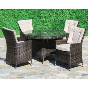 Maze Rattan Lagos Brown Garden Table and 4 Chairs - Lifestyle