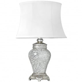Abri Antique Silver Sparkle Mosaic Table Lamp with White Shade