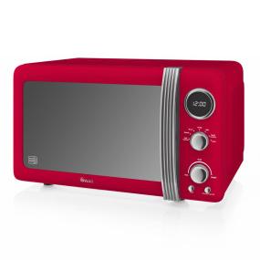 Swan Retro Red 800W Digital Microwave
