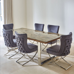 Santa Barbara 220cm Reclaimed Timber Dining Table & 6 Lexy Chairs - Lifestyle