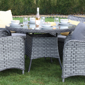 Supremo San Antonio Storm Grey 120cm Round Rattan Garden Dining Table - Lifestyle   Housing Units