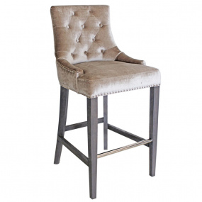 Parker Champagne Velvet Bar Chair with Knocker