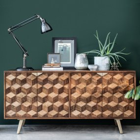 Boston Mango Wood Wide Sideboard - In Roomset