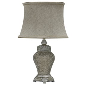 Abri Soft Gold Sparkle Mosaic Medium Table Lamp and Shade