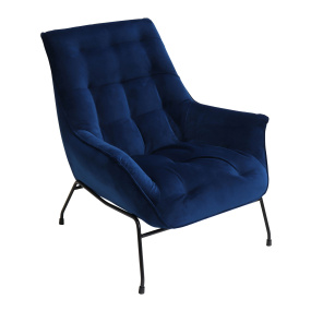 Thiago Blue Velvet Accent Chair