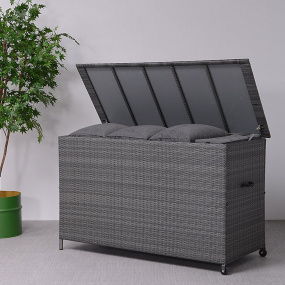 Brisbane Earl Grey Wicker Garden Storage Box - Lifestyle | Housing Units