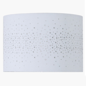 33cm White Velvet Diamante Drum Shade