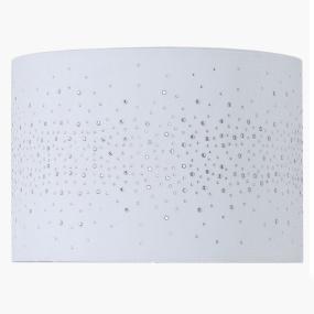 33cm White Velvet Diamante Drum Shade
