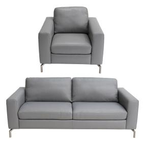 Natuzzi Editions Milano Grey Leather 3 Seater Sofa & Armchair