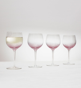 Set of 4 Pink Bubble Wine Glasses