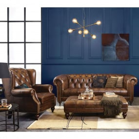 Balmoral Vintage Cognac Leather 3.5 Seater Sofa & Wing Armchair
