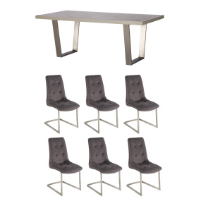 Caspian 200cm Concrete Effect Dining Table & 6 Avanti Grey Fabric Upholstered Dining Chairs