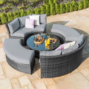 Maze Rattan Lagos Grey Circular Garden Lifestyle Suite