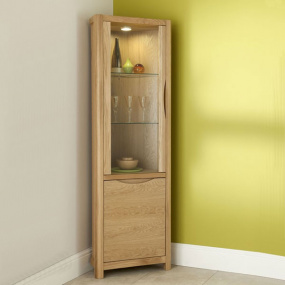 Oslo Light Oak Corner Display Cabinet