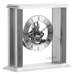 London Clock Company Silver Skeletal Mantel Clock