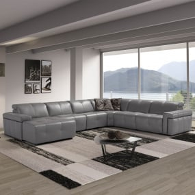 Parma Taupe Leather Large Recliner Corner Group - Lifestyle Angled | Housing Units